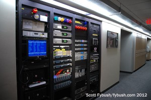 Racks in the Clear Channel hallway