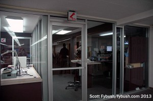 Radio studios, from the newsroom