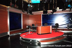 One side of the NewsHour studio...