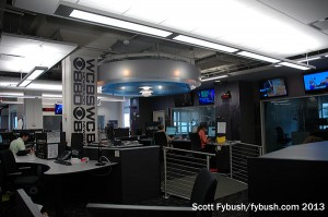 Newsroom, with a view of the studios